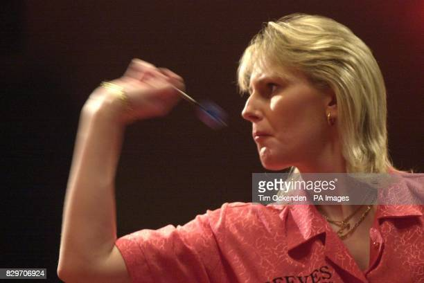 Trina Gulliver during the final of the Embassy Womens World Darts Championships against Holland's Francis Hoenselaar at the Lakeside Country Club...