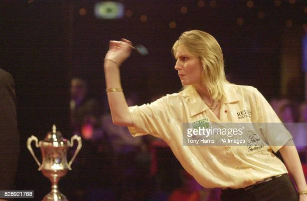 Trina Gulliver England in action against Francis Hosnselaar during the Women's Lakeside World Professional Darts Championship at the Lakeside Country...