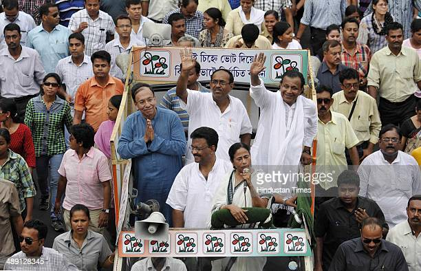 Trinamool Congress Chief Mamata Banerjee during a road show the last day of campaign for Jadavpur TMC candidate Sugata Bose and South Kolkata...