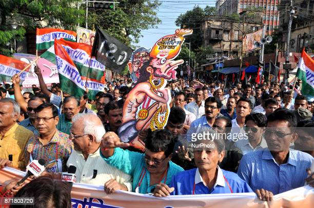 Trinamool Congress mass Supporter a the prt in the protest rally and celebrates the Black Day and protest against BJP Government As demonetisation...