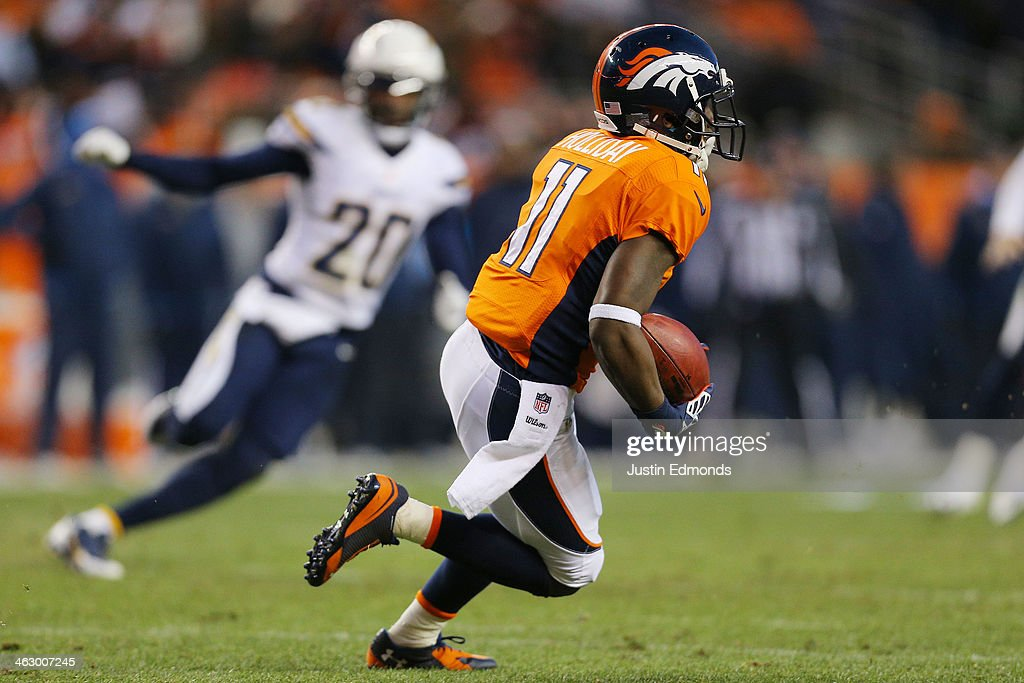 <a gi-track='captionPersonalityLinkClicked' href=/galleries/search?phrase=Trindon+Holliday&family=editorial&specificpeople=4045241 ng-click='$event.stopPropagation()'>Trindon Holliday</a> #11 of the Denver Broncos carries the ball against the San Diego Chargers during the AFC Divisional Playoff Game at Sports Authority Field at Mile High on January 12, 2014 in Denver, Colorado.