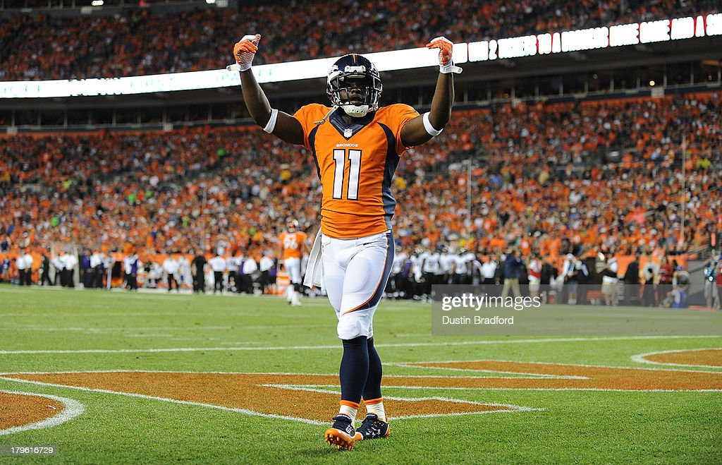 <a gi-track='captionPersonalityLinkClicked' href=/galleries/search?phrase=Trindon+Holliday&family=editorial&specificpeople=4045241 ng-click='$event.stopPropagation()'>Trindon Holliday</a> #11 of the Denver Broncos gestures to the crowd in the first quarter against the Baltimore Ravens during the game at Sports Authority Field at Mile High on September 5, 2013 in Denver Colorado.