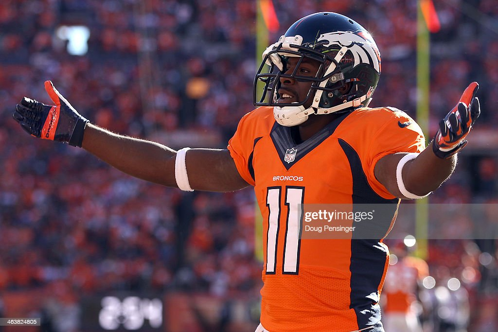 <a gi-track='captionPersonalityLinkClicked' href=/galleries/search?phrase=Trindon+Holliday&family=editorial&specificpeople=4045241 ng-click='$event.stopPropagation()'>Trindon Holliday</a> #11 of the Denver Broncos reacts in the second quarter against the New England Patriots during the AFC Championship game at Sports Authority Field at Mile High on January 19, 2014 in Denver, Colorado.