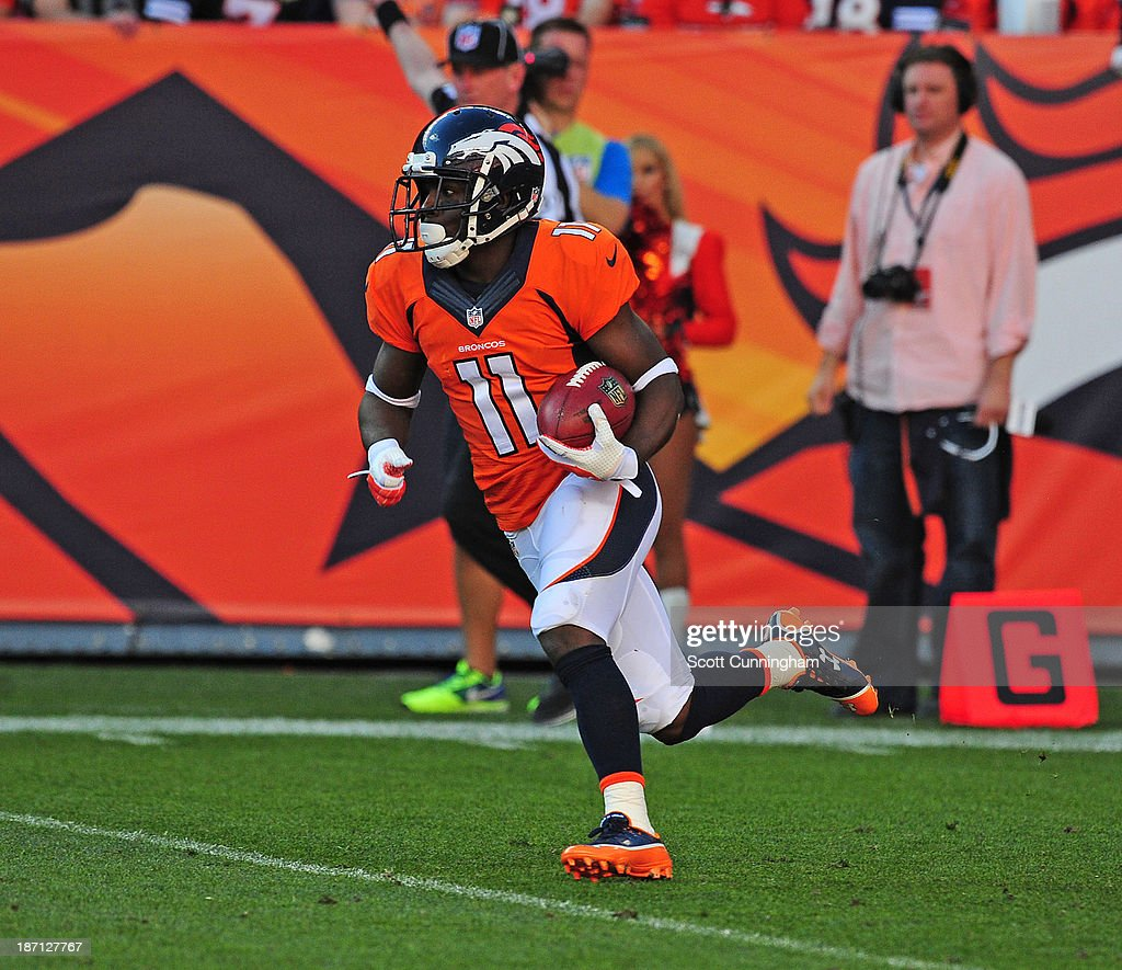 <a gi-track='captionPersonalityLinkClicked' href=/galleries/search?phrase=Trindon+Holliday&family=editorial&specificpeople=4045241 ng-click='$event.stopPropagation()'>Trindon Holliday</a> #11 of the Denver Broncos returns a kick against the Washington Redskins at Sports Authority Field on October 27, 2013 in Denver, Colorado.