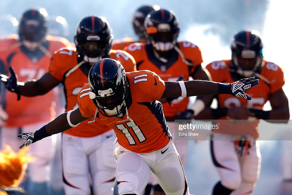 <a gi-track='captionPersonalityLinkClicked' href=/galleries/search?phrase=Trindon+Holliday&family=editorial&specificpeople=4045241 ng-click='$event.stopPropagation()'>Trindon Holliday</a> #11 of the Denver Broncos runs on the field prior to their AFC Divisional Playoff Game against the San Diego Chargers at Sports Authority Field at Mile High on January 12, 2014 in Denver, Colorado.