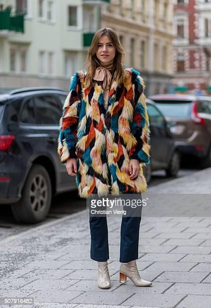 Trine Kjaer outside Minimarket during the Fashion Week Stockholm Autumn/Winter 2016 on February 1 2016 in Stockholm Sweden