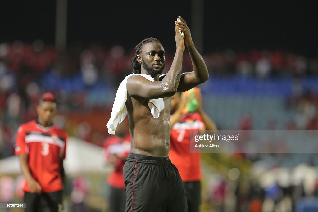 Trinidad and Tobago captain Kenwayne Jones applauds his home crowd during a World Cup Qualifier between Trinidad and Tobago and USA as part of the FIFA World Cup Qualifiers for Russia 2018 at Hasely Crawford Stadium on November 17, 2015 in Port of Spain, Trinidad & Tobago.