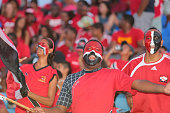 Trinidad and Tobago fans cheer during a World Cup Qualifier between Trinidad and Tobago and USA as part of the FIFA World Cup Qualifiers for Russia...