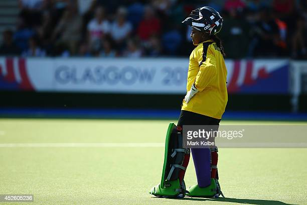 Trinidad and Tobago goal keeper Petal Derry looks dejected during her side'of South Africa 16nil loss during the Women's preliminary match between...