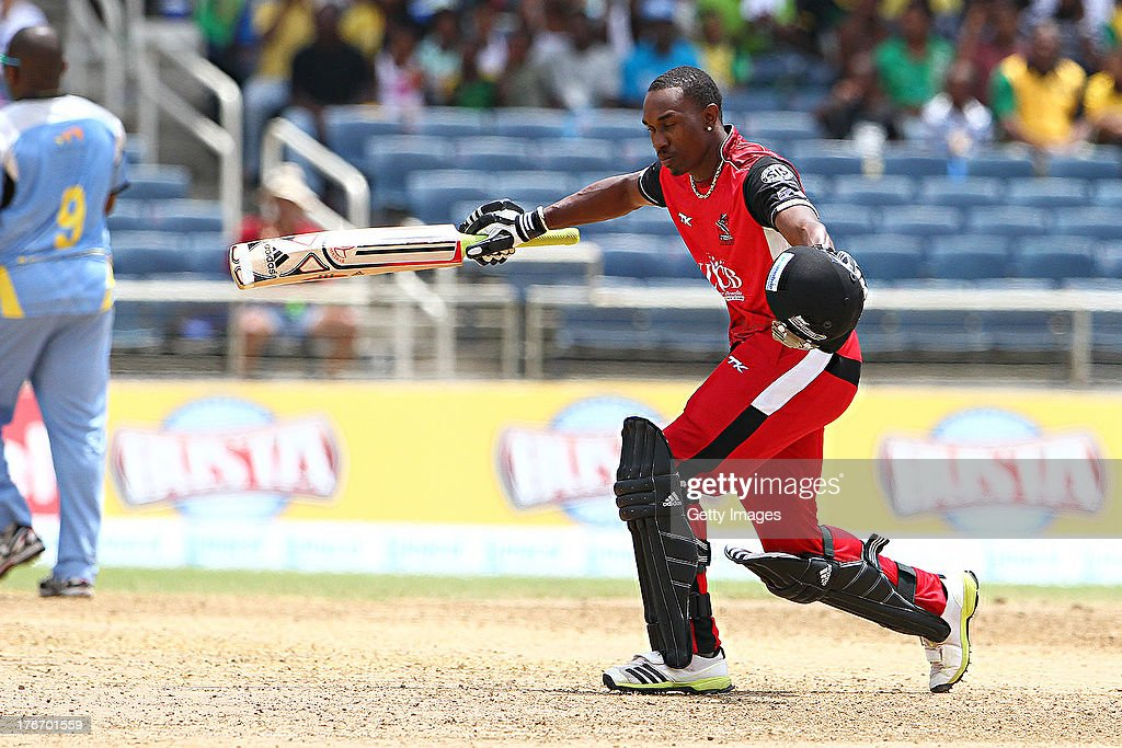 Trinidad and Tobago Red Steel captain Dwayne Bravo celebrates tduring the Eighteenth Match of the Cricket Caribbean Premier League between St. Lucia Zouks v Trinidad and Tobago Red Steel at Sabina Park on August 17, 2013 in Kingston, Jamaica.