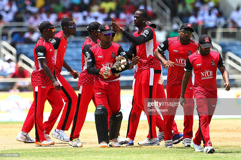 Trinidad and Tobago Red Steel during the Eighteenth Match of the Cricket Caribbean Premier League between St. Lucia Zouks v Trinidad and Tobago Red Steel at Sabina Park on August 17, 2013 in Kingston, Jamaica.
