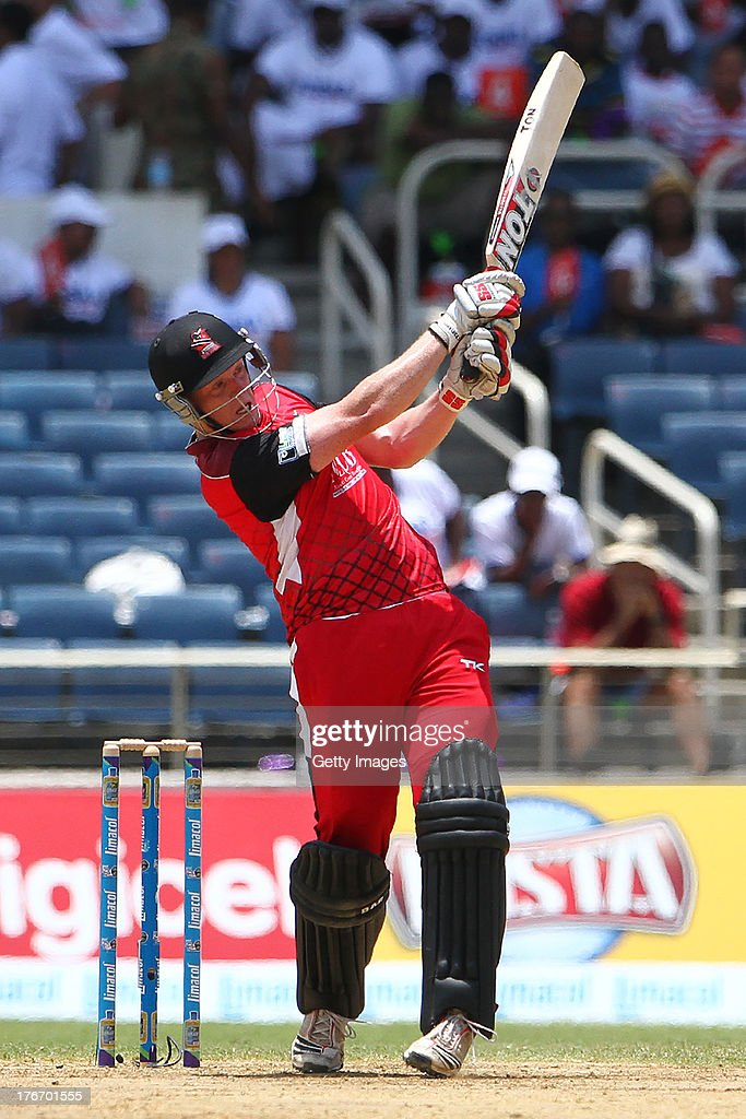 Trinidad and Tobago Red Steel's Kevin O'Brian pulls during the Eighteenth Match of the Cricket Caribbean Premier League between St. Lucia Zouks v Trinidad and Tobago Red Steel at Sabina Park on August 17, 2013 in Kingston, Jamaica.