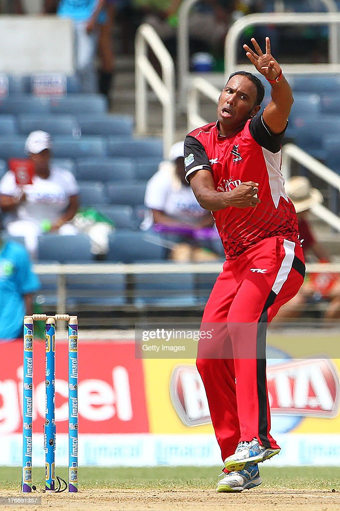 Trinidad and Tobago Red Steel's Samuel Badree bowls during the Eighteenth Match of the Cricket Caribbean Premier League between St. Lucia Zouks v Trinidad and Tobago Red Steel at Sabina Park on August 17, 2013 in Kingston, Jamaica.