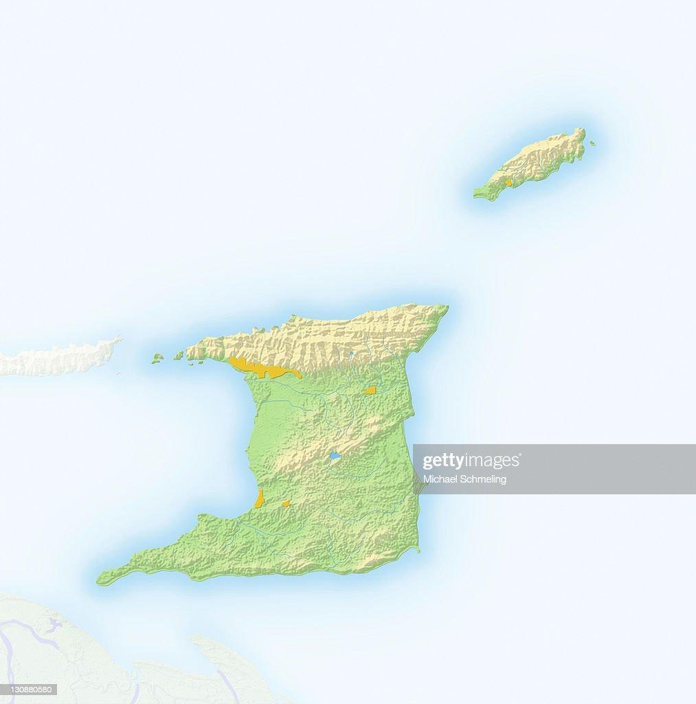 Trinidad and Tobago, shaded relief map