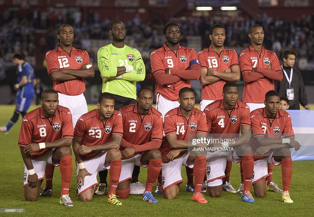 Trinidad and Tobago's football team pose before a friendly football match against Argentina at the Monumental stadium in Buenos Aires Argentina on...