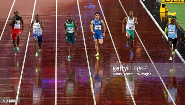 Trinidad and Tobago's Kyle Greaux Great Britain's Nethaneel MitchellBlake South Africa's Akani Simbine Italy's Filippo Tortu Portugal's David Lima...