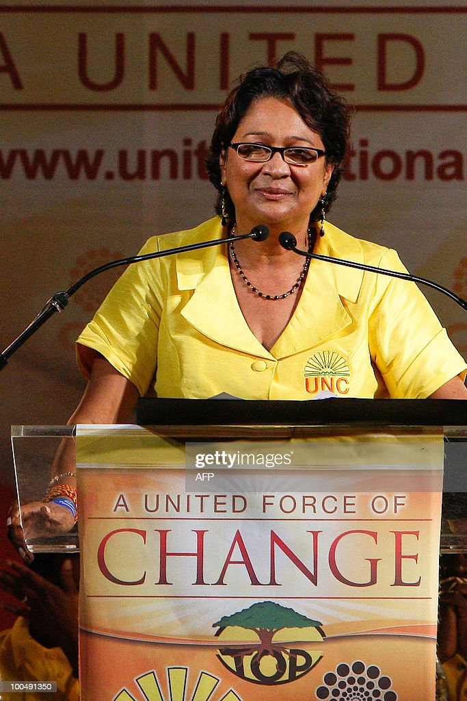 Trinidad and Tobago's opposition leader Kamla Persad-Bissessar delivers a speech at supporters during a rally in Port of Spain, on May 24, 2010 on election day in the twin-island Caribbean nation. Trinidad and Tobago held closely-fought snap elections on Monday, with a former attorney general Persad-Bissessar hoping to become the country's first woman prime minister. Incumbent Patrick Manning called the vote in a risky gamble in the middle of his five-year term in this energy-rich Caribbean nation close to Venezuela's coast. But Persad-Bissessar, who heads a five-party coalition, led late opinion polls after tapping into voters' worries about rising crime and corruption.