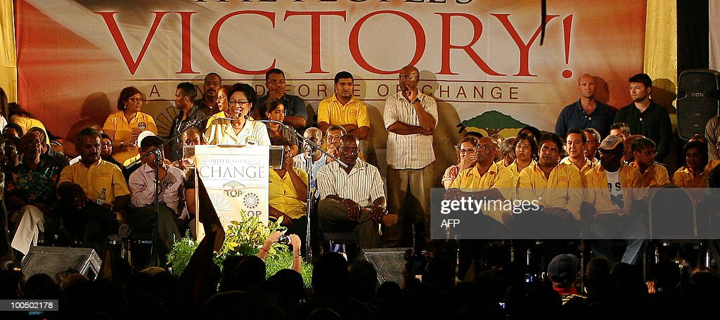 Trinidad and Tobago's opposition leader Kamla Persad-Bissessar delivers a speech after winning the election at the UNC party headquarters in Couva Town in Trinidad, on May 24, 2010. Persad-Bissessar has been elected the first female prime minister of Trinidad and Tobago after her five-party coalition swept to victory in snap elections in the former British colony.
