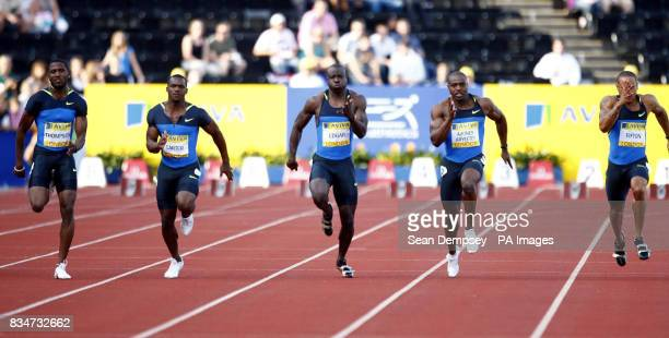 Trinidad and Tobago's Richards Thompson wins Heat two of the Men's 100 metres Jamaica's Nesta Carter comes second and Trinidad and Tobago's Marc...