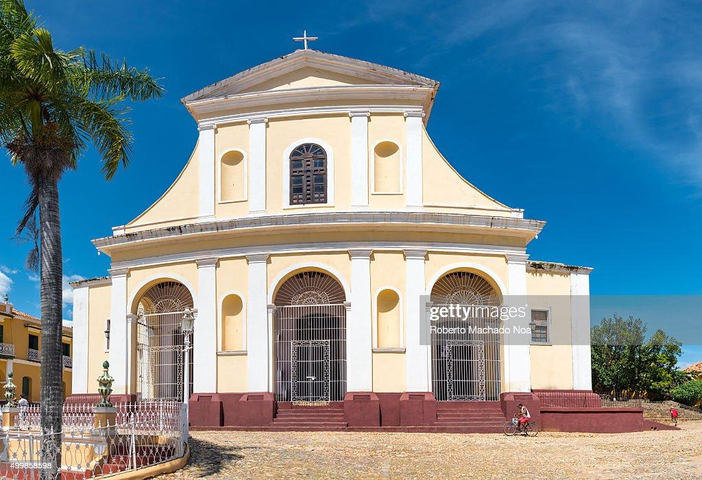 Trinidad de Cuba tourism and landmark Holy Trinity Church or Iglesia Parroquial de la Santisima near Plaza Mayor in Trinidad The church has a...