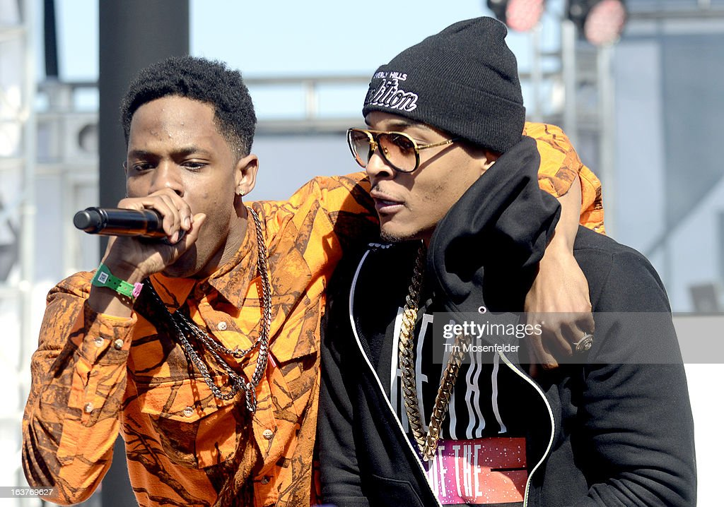 Trinidad Jame$ (L) and T.I. perform at the mtvU Woodie Awards on March 14, 2013 in Austin, Texas.