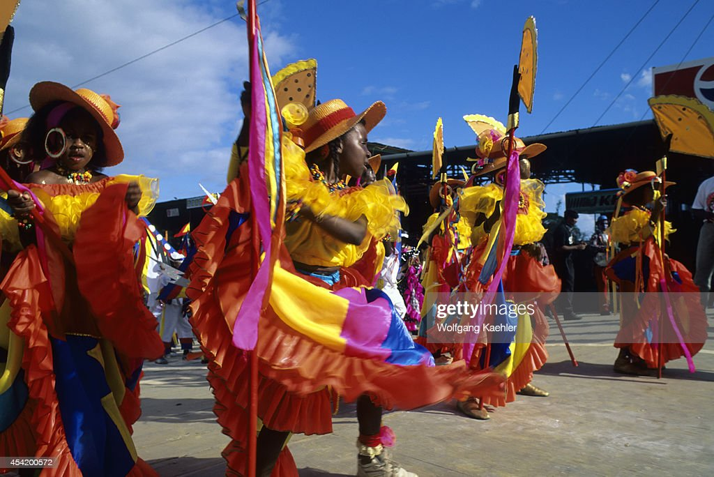 Trinidad, Port Of Spain, Carnival, Parade Of Bands, Local Girls In Costume.