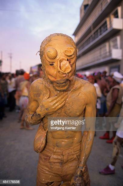 Trinidad Port Of Spain J'ouvert Ju Vay Celebration Carnival Opening People Covered With Mud