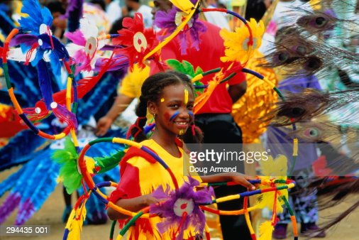 Trinidad, Port of Spain, young girl in carnival costume
