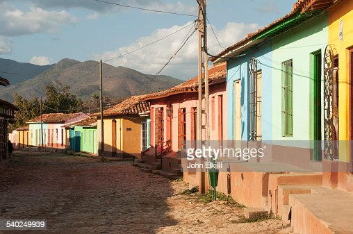 Trinidad street scene with colorful houses