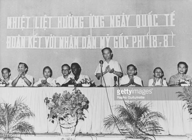 Trinidadborn American black activist Stokely Carmichael with officials at a meeting in honour of an International Day of Solidarity with the Black...