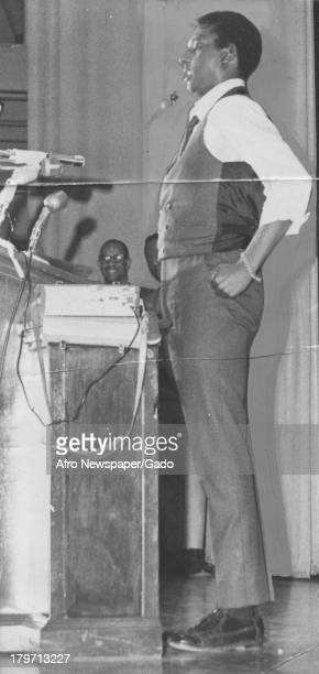 Trinidadianborn American Civil Rights activist Stokely Carmichael delivers a speech 1968