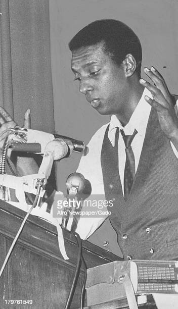 Trinidadianborn American Civil Rights activist Stokely Carmichael addressing a crowd of over 3000 people January 18 1967