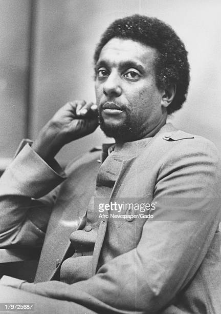 Trinidadianborn American Civil Rights activist Stokely Carmichael relaxing at Morgan State University Baltimore Maryland 1968