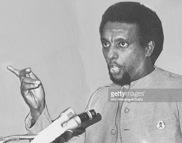 Trinidadianborn American Civil Rights activist Stokely Carmichael speaking in front of microphone 1968