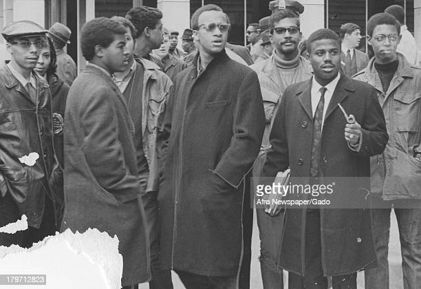 Trinidadianborn American Civil Rights activist Stokely Carmichael stands in a crowd Richmond Virginia 1968