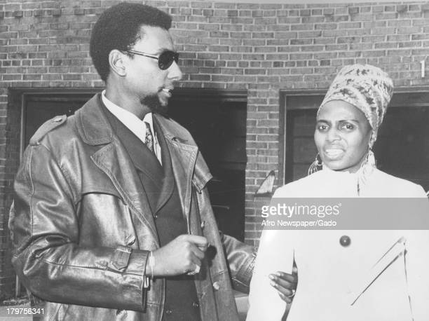 Trinidadianborn American Civil Rights activist Stokely Carmichael is shown with a friend 1968