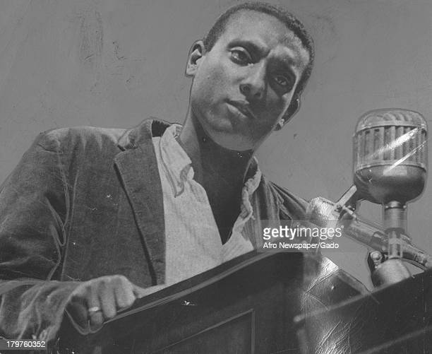Trinidadianborn American Civil Rights activist Stokely Carmichael speaks on the stage December 31 1966