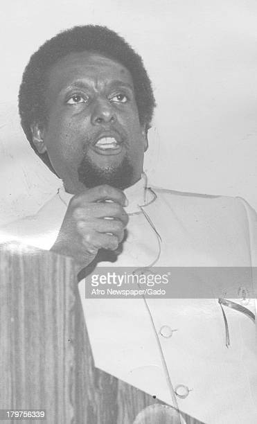 Trinidadianborn American Civil Rights activist Stokely Carmichael encouraging the audience to get actively involved with the struggles in Africa at a...