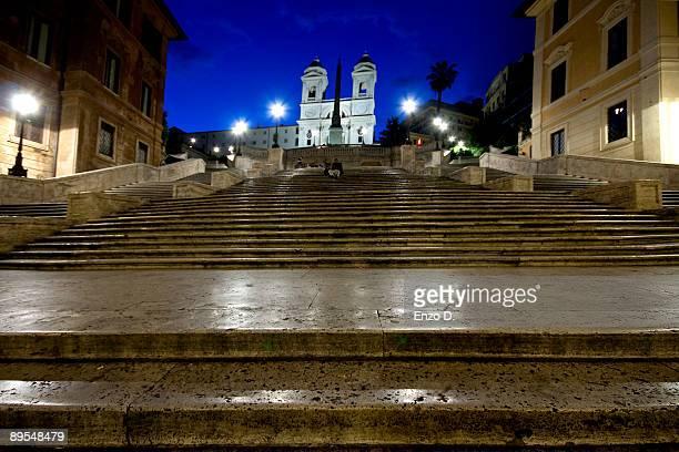 Trinità dei Monti and Spanish steps at night