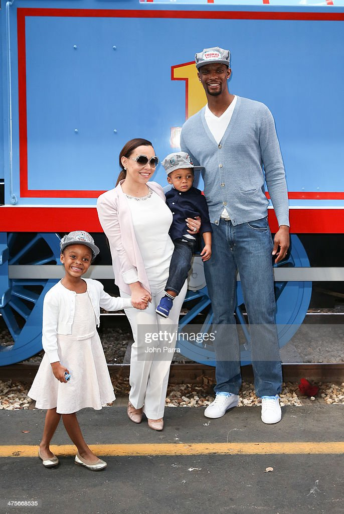 Trinity Bosh Adrienne Bosh Jackson Bosh and Chris Bosh attend the Day Out With Thomas The Thrill of the ride tour 2014 off at The Gold Coast Railroad...
