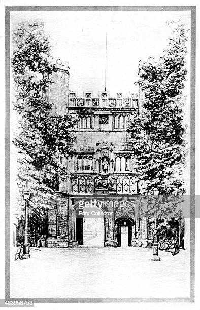 Trinity College Cambridge early 20th century Published by Photochrom Co Ltd Kent