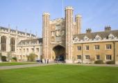Trinity College courtyard and gatehouse University of Cambridge Cambridgeshire England