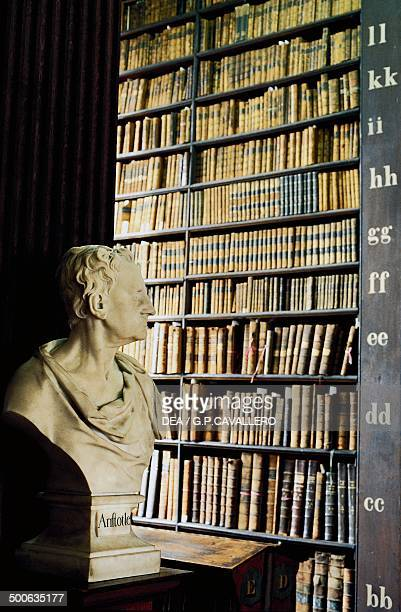 Trinity College library with the bust of Aristotle in the foreground Dublin Ireland