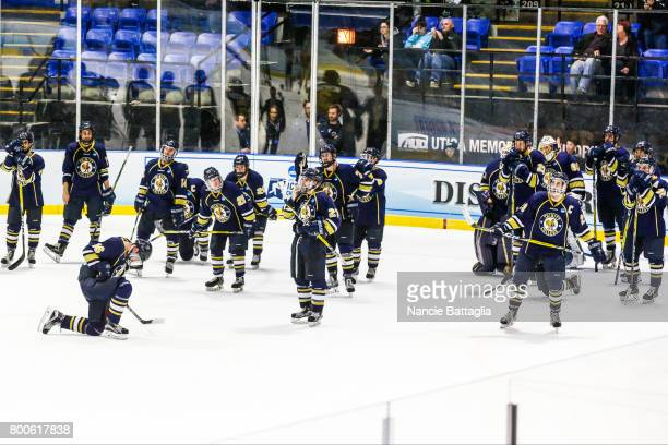 Trinity College players watch as Norwich University celebrates after the Division lll Men's Ice Hockey Championship held at the Utica Memorial...