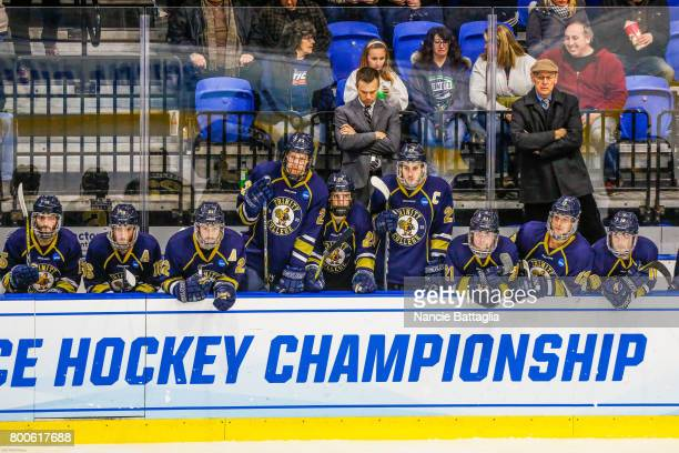 Trinity College players watch during the Division lll Men's Ice Hockey Championship held at the Utica Memorial Auditorium on March 25 2017 in Utica...