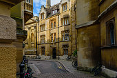 Trinity Lane from the Corner of Senate House Passage Towards King's College Chapel, Cambridge, UK