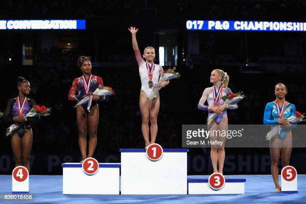 Trinity Thomas fourth place Jordan Chiles silver Ragan Smith gold Riley McCusker bronze and Margzetta Frazier fifth place in the Women's AllAround...