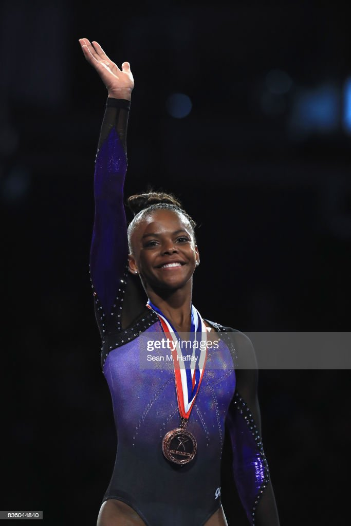 Trinity Thomas waves during awards ceremony during the P&G Gymnastics Championships at Honda Center on August 20, 2017 in Anaheim, California.