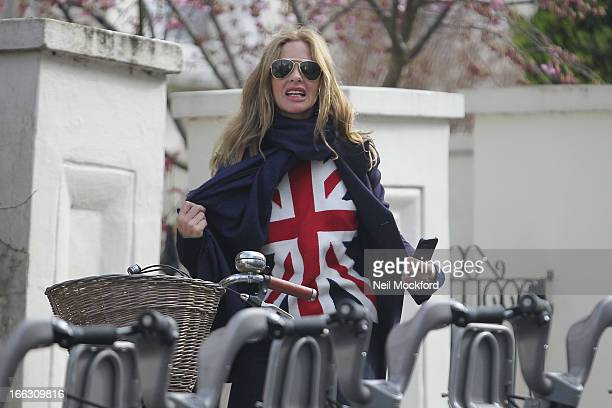 Trinny Woodall seen with friends hiring Barclays Bikes in Notting Hill on April 11 2013 in London England