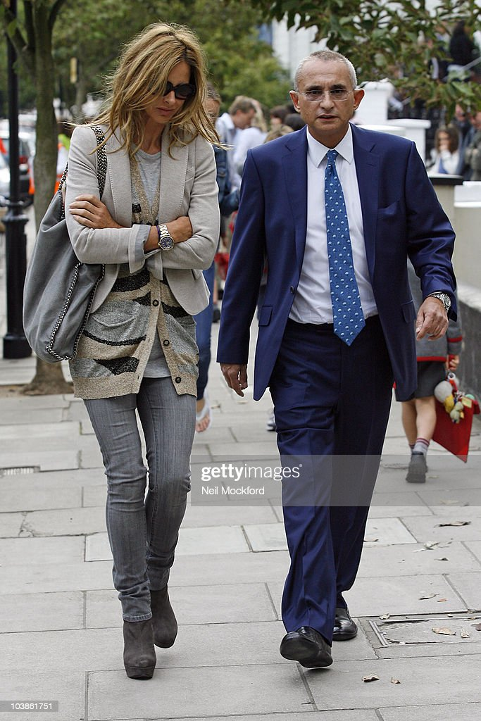 Trinny Woodall (L) sighted with ex husband, Johnny Elichaoff after taking their daughter Lyla to school on the first day of Autumn term on September 6, 2010 in London, England.